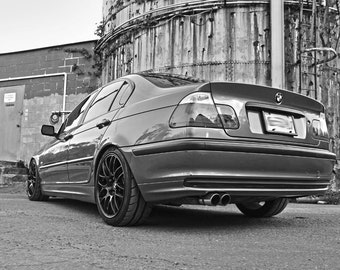 Poster of BMW E46 3-Series Left Rear Black and White HRE P40 Wheels HD Print