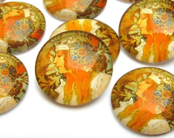 Cabochon Mucha Byzantine Head 18 mm Art nouveau reproduction