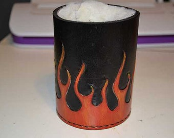 Beer Cozy, Leather with Flames, CC-002