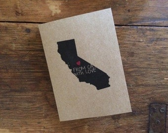 From CA with LOVE - state map notecards  (Set of 4)