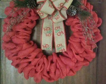 Beautiful, Rustic Wreath, Burlap Wreath, Christmas Wreath