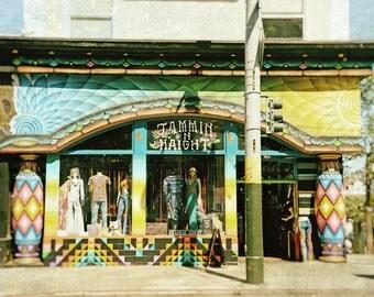 San Francisco Photography, Haight Ashbury, California, tye dye, Hippie, Shop, Fine Art Print, Home Decor, yellow, blue, green, Wall Art