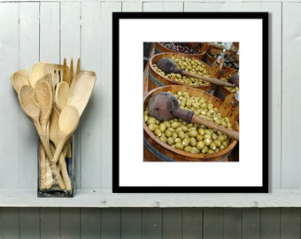 Food Photography, Kitchen Art, Kitchen Decor, Wall Art, Home Decor, Olives, Europe, Market, black and white, Green, Rustic, Restaurant Decor