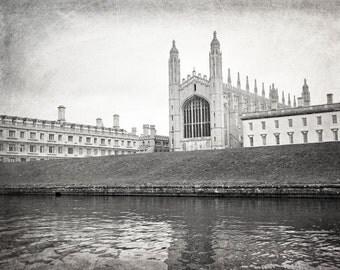 Cambridge University, England Photography, Black and White, King's College, Fine Art Print, Travel Photo, Europe, Home Decor, Wall Art
