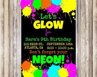 Neon Birthday Invitation
