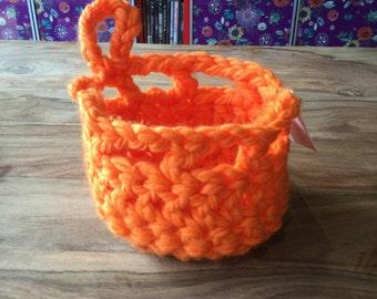 Fluro Orange Chunky Crochet basket
