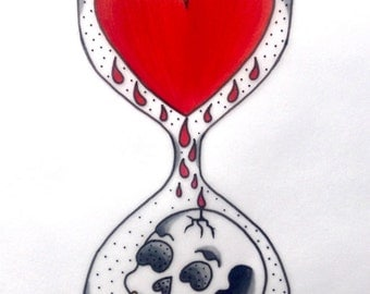 Traditional ink pen hourglass design of love vs. death printed on 300gsm card