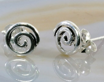 Spirale ear stud earrings 925 sterling silver--  2880