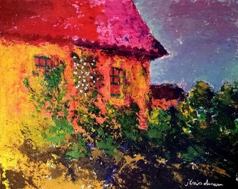 Yellow Villa Painting by J. Travis Duncan - Tuscany House Palette Knife Painting - Italian Villa Acrylic Painting - 8x10 Canvas Panel - pano