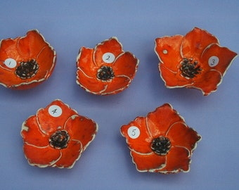 Hand modelled earthenware poppy bowls 9cm dia
