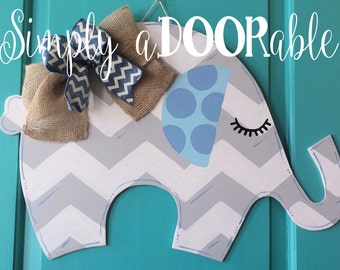 Elephant Wood Door Hanger. Simply aDOORable. Elephant Baby Shower Gift, Hospital Door Announcement, Nursery Door Hanger, Chevron Elephant