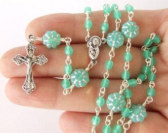 Catholic Rosary Beads - Small Classic Handmade Five Decade Rosary - Light Green Rosary Beads - Small Thin Rosary - Baptism Gift - LAST ONE
