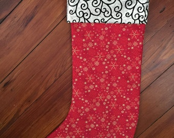 Red and Gold Christmas Stocking