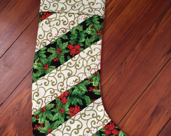 Quilted Holly Christmas Stocking