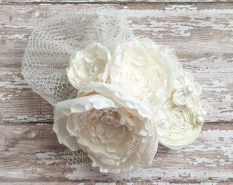 Wedding Hair Piece, Pearl Hairclip, Rustic Wedding Fascinator, Christening Veil, Wedding Veil, Flower Girl Clip, Bridal Hairpiece
