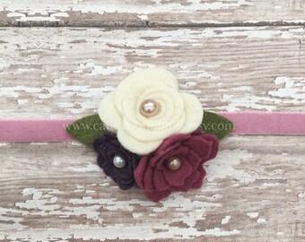 Fall Headband * Rose Rosette Headband * Purple Magenta Ivory Flower Headband * Felt Baby Headband Flower Girl Winter Headband