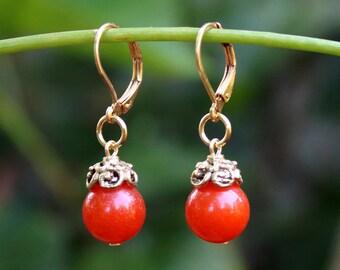 Tangerine Carnelian Dangle Earrings.Orange Stone.Gold.Silver.Drop.Bridal.Statement.Dainty.Valentine.Holiday.Summer.Gift.Colorful.Handmade.