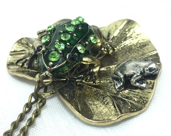 Large Two Frogs on Lily Pad Pendant Necklace