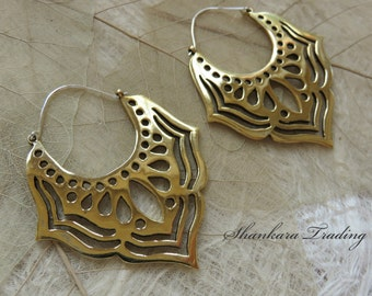 Lotus Tribal Earrings, Hoop Earrings, Tribal Jewelry, Indian Earrings, Tribal Brass Earrings, Gypsy Earrings, Belly Dance Jewelry, Boho