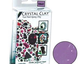 Crystal Clay Two Part Epoxy Mix 50 Grams - Violet Light Purple Use w/ Chatons, Rhinestones, Findings to make Art Jewelry SU33