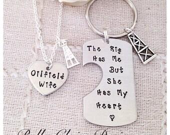 Oilfield Wife, Oilfield girlfiend Oilfield Necklace Oilfield Jewelry Oilfield Worker Oil Rig Roughneck