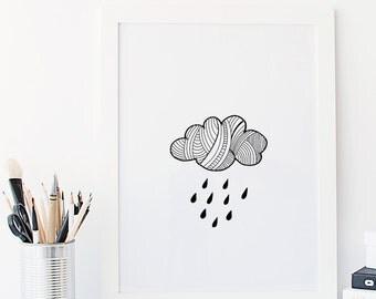 Nursery Wall Art Print Scandinavian Raincloud weather monochrome kids room decor