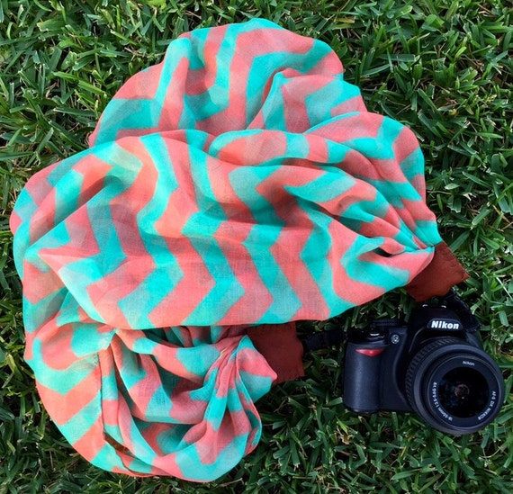 Pink Teal Coral Turquoise Chevron Scarf Camera Strap