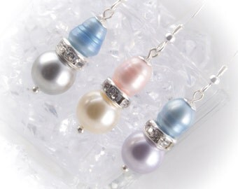 Sterling silver pearl drop Bridesmaid earrings with freshwater and Swarovski pearls and rhinestone rondelles 219931EBM
