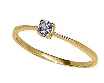 14k Yellow Gold Ring with 3mm Genuine Tanzanite. Size 6.25  (R658)