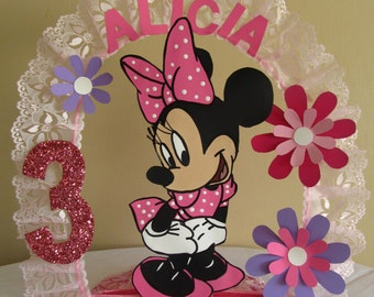 Minnie Mouse Personalized 1st Birthday Cake Topper/Centerpiece