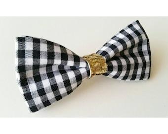 Gingham Bow / Hair Bow / Black Hair Bow / baby hair bow / toddler hair bow / hair bow clip / birthday hair bow
