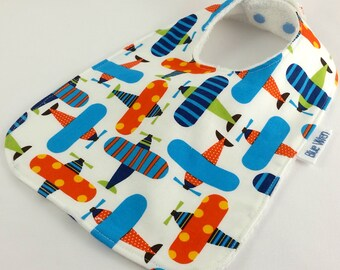 Baby Infant Bib Aeroplane Cotton Fabric Bamboo Toweling Backed and Snap Fastened