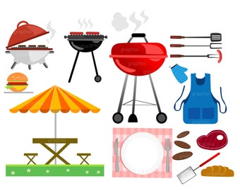 Clipart Barbecue, clipart BBQ, clipart grill, Vector, Family Barbeque Clipart - Digital Clip Art Personal or Commercial Use, DIGITAL CLIPART