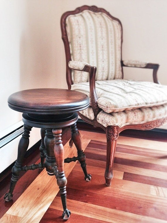 Antique Piano Stool Vintage Claw Foot Stool Or Side Table