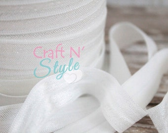 """Off White - 5/8"""" Solid Fold Over Elastic - FOE in 1 or 5 yds"""