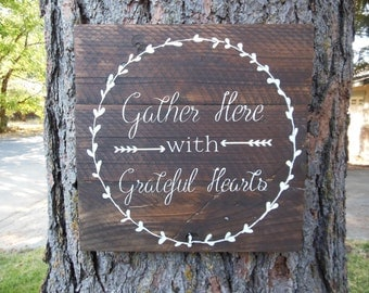 "Joyful Island Creations ""Gather here with grateful hearts"" wood sign, thanksgiving sign, dining room sign, fall sign"