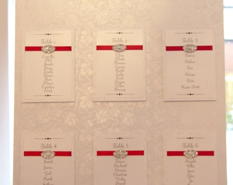 Antique Ivory & Red Vintage Brooch Table Plan