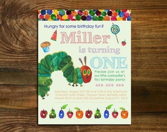 The Very Hungry Caterpillar Birthday Invitation - First, Second and Third Birthday Designs
