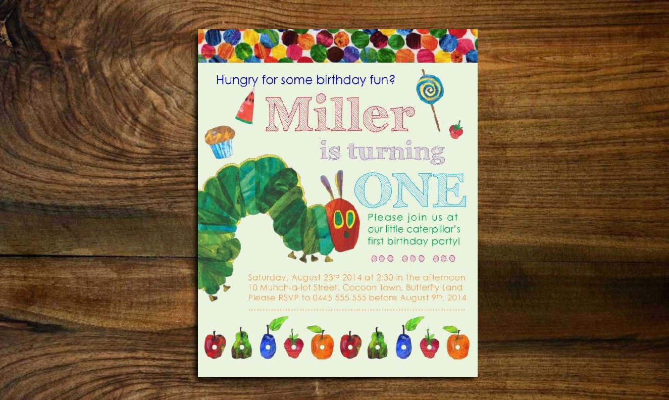 the very hungry caterpillar birthday invitation first. Black Bedroom Furniture Sets. Home Design Ideas