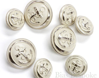 Sets of Hand-Polished Silver Anchor Buttons in Two Sizes, Made in France