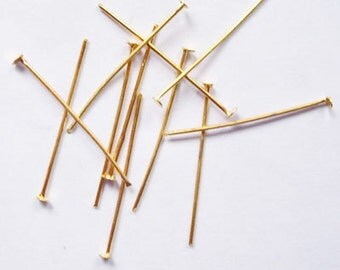 100pcs.Iron Headpins, Golden Color, Size: about 2.2cm long, 0.7mm thick, about  (HD-A201)