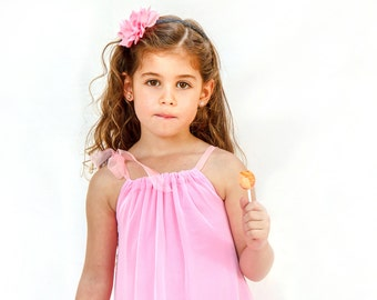 Pink flower girl tulle dress - pink party dress for girls - double layer dress for flower girls