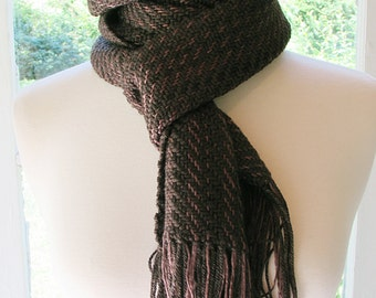Brown silk and marino wool scarf