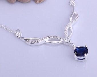 Dark Blue Simulated Sapphire Chevron CZ Cubic Zirconia Sterling Silver Necklace