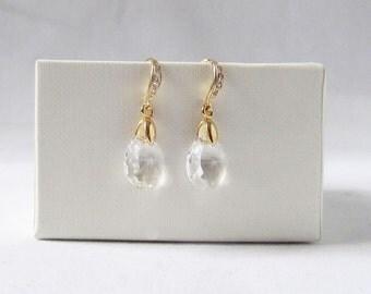 crystal teardrop earrings, crystal drop earrings wedding, clear Swarovski crystal drop earrings,bridesmaids gift ,bridesmaid wedding jewelry