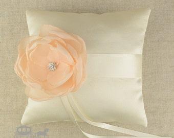 Fabric Flower Pillow - Ring Pillow - Ring Bearer Pillow - Ring Cushion - Flower Girls - Wedding Pillow - Silk Ring Pillow - Ring Bearer