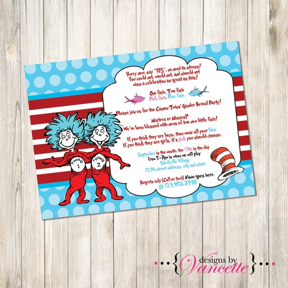 Cat In The Hat Twins Baby Shower Invitation