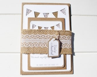 lace and burlap bunting wedding invitation