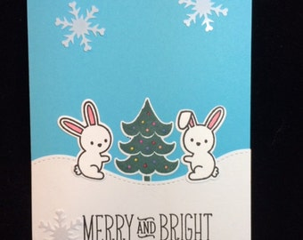 Merry & Bright Bunny Holiday Greeting Card
