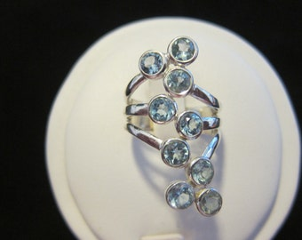 Blue Topaz Sterling Silver Ring Size 7